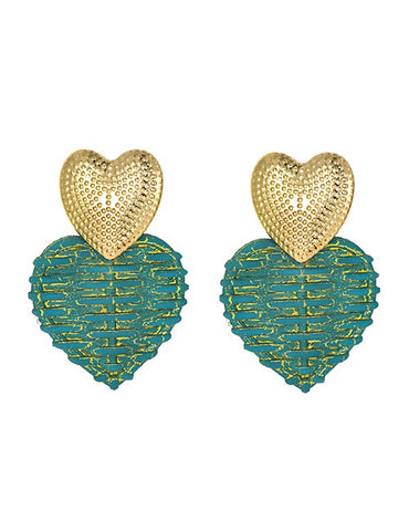 Teal Gold Heart Wicker Earrings