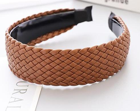 ALB Tan Leather Weave Headband