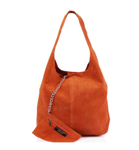 ALB Orange Real Suede Slouch Bag