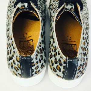 ALBie Grey Black Leopard Pony Hair Trainers