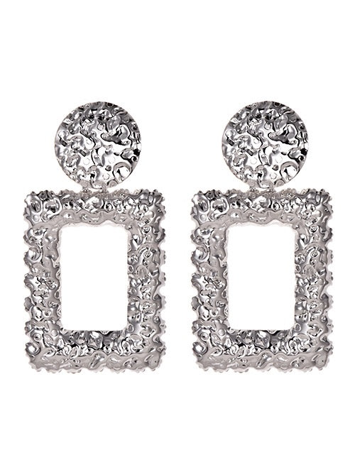 Silver Rectangle Floral Earrings