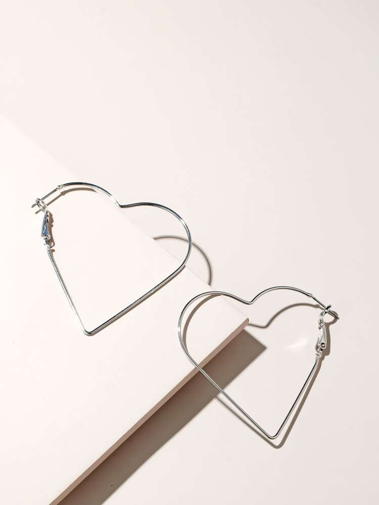 ALB Silver Heart Hoop Earrings