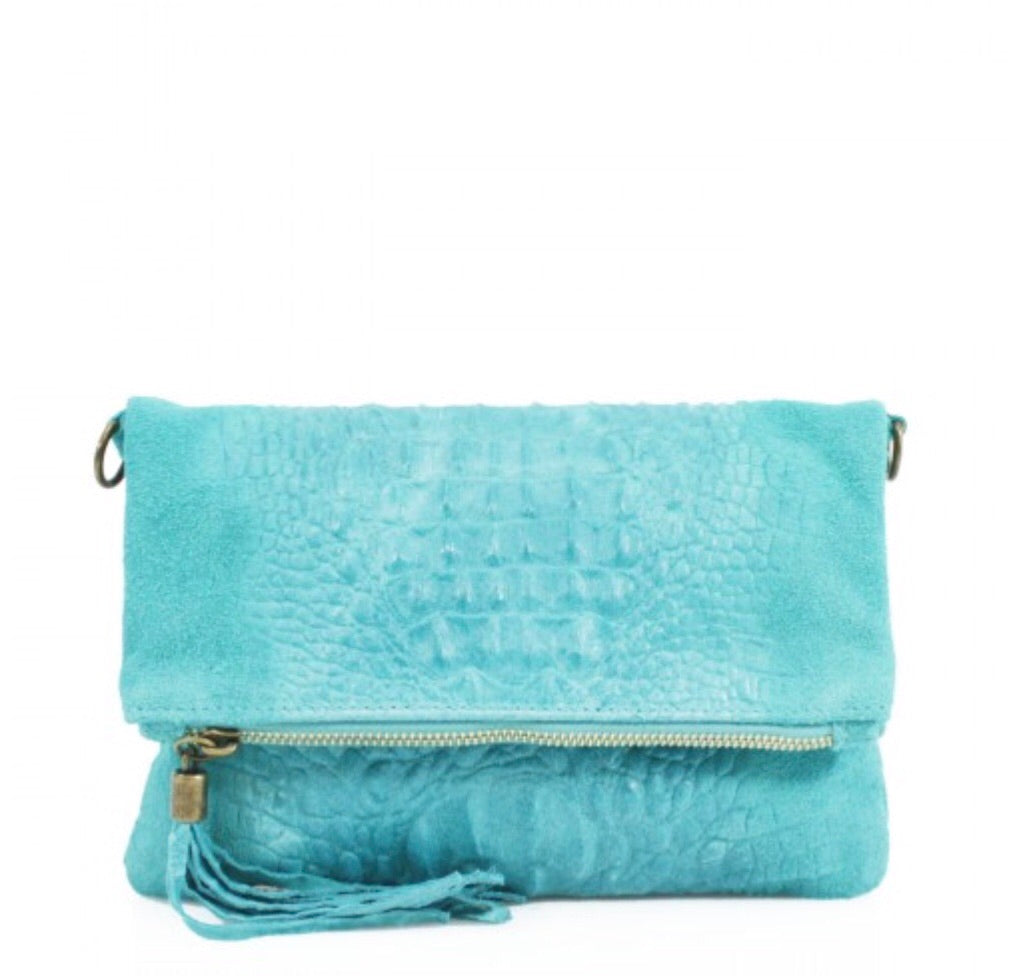 ALB Turquoise Snakeskin Leather Body Bag