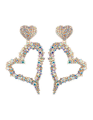 ALB Large AB Heart Diamante Earrings