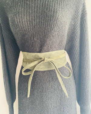 ALB Real Suede Green Waist Clinch Belt