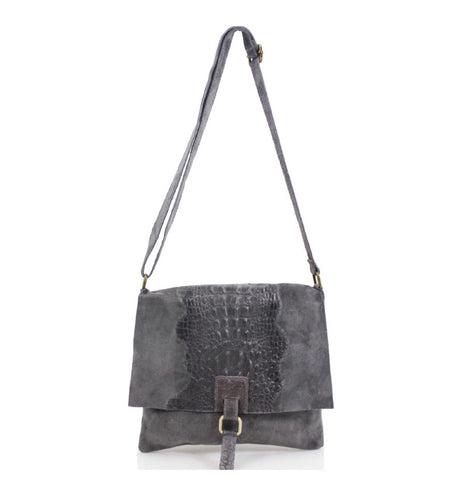 ALB Dark Grey Snakeskin Leather Crossbody Bag
