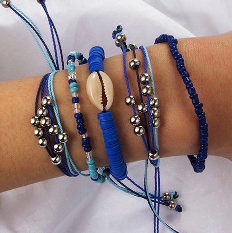 ALB Blue Beaded Shell Bracelet Set