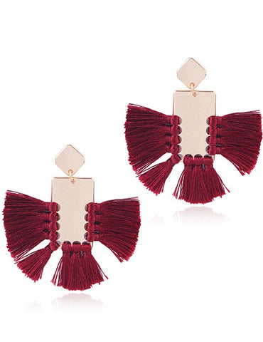 ALB Burgundy Gold Square Tassel Earrings
