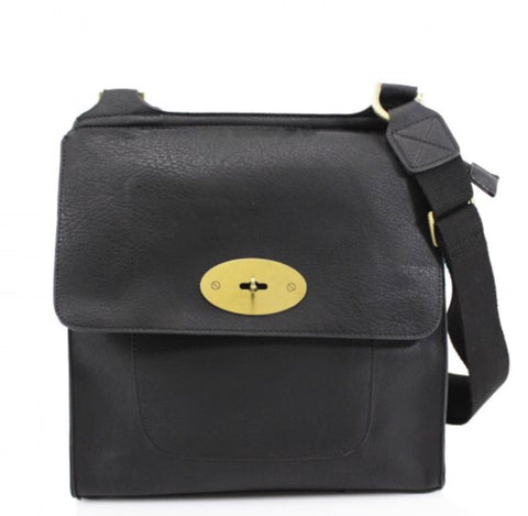 ALB Black Buckle Padlock Cross Body Bags