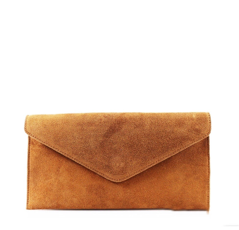 ALB Camel Real Suede Clutch Bag