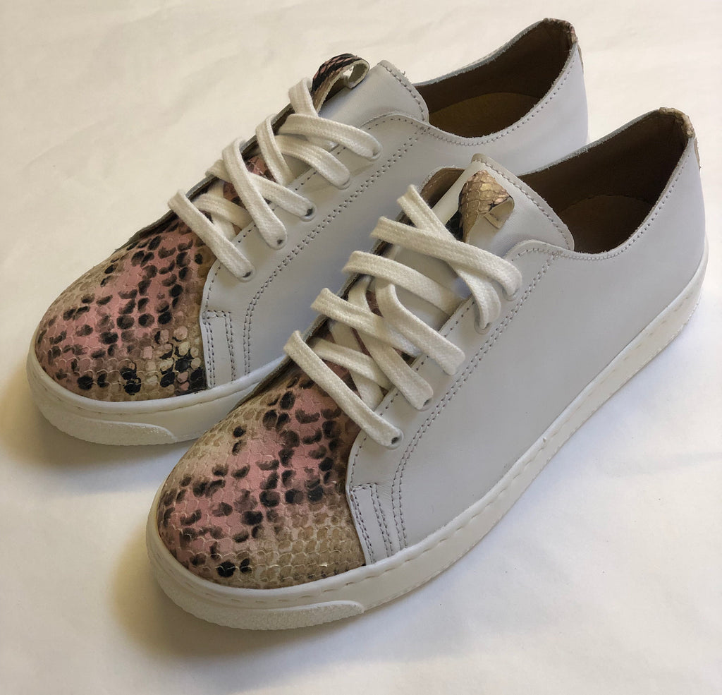 ALBie White Pink Snake Leather Trainers