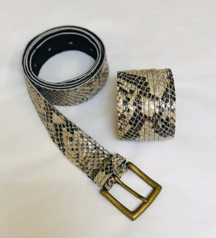 ALB Real Leather Beige Snakeskin Shimmer Belt