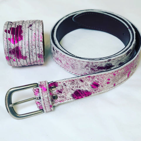 ALB Real Leather Pink Splatter Belt