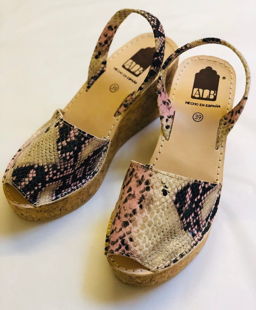 Pink Beige Snakeskin Animal Wedge ALBies Range