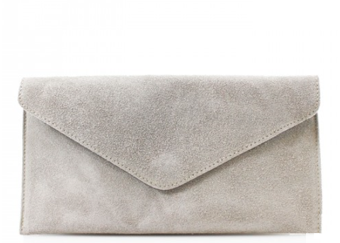 ALB Light Grey Real Suede Clutch Bag