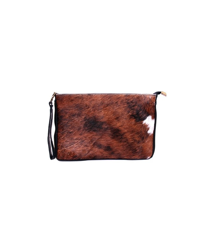 ALB Cowhide Pony Hair Real Leather Clutch Bag