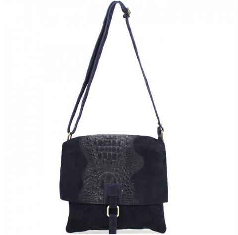 ALB Navy Snakeskin Leather Crossbody Bag
