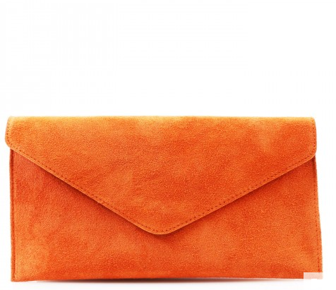 ALB Orange Real Suede Clutch Bag