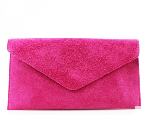 ALB Fuchsia Real Suede Clutch Bag