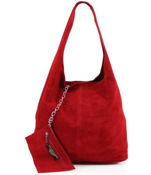 ALB Red Real Suede Slouch Bag