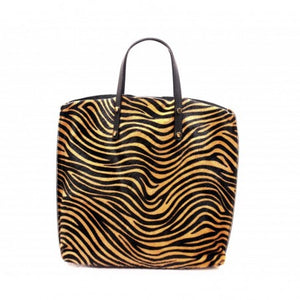 ALB Tiger Pony Hair Leather Shopper Bag