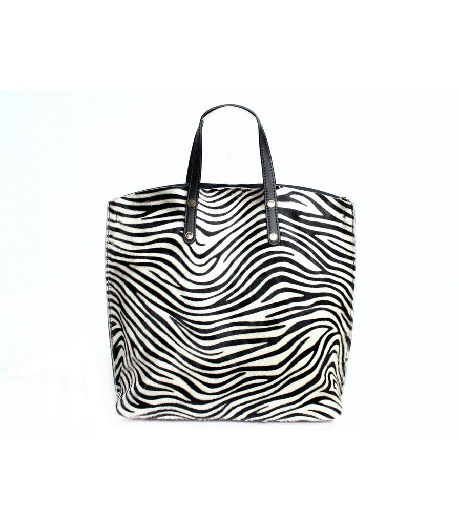 ALB Zebra Pony Hair Leather Shopper Bag