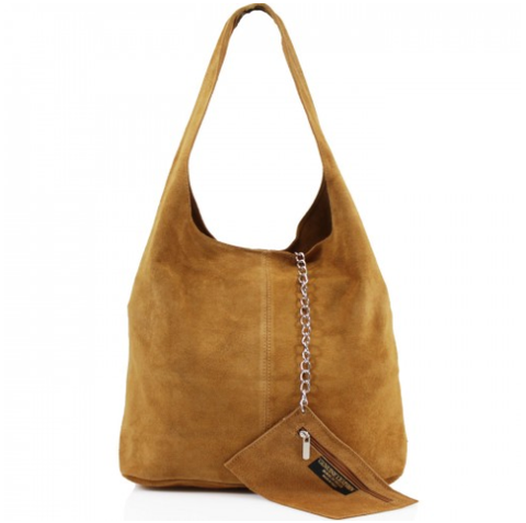 1ccdcebf9fb ALB Tan Real Suede Slouch Bag