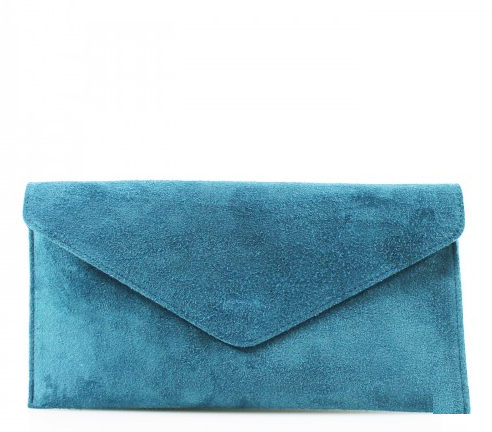 ALB Turquoise Real Suede Clutch Bag