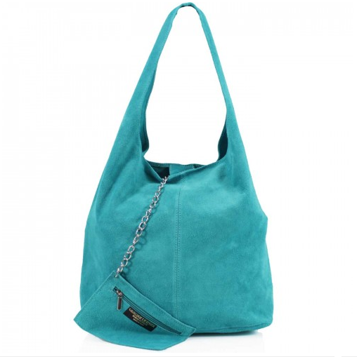 ALB Turquoise Real Suede Slouch Bag