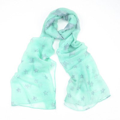 Mint Green Star Scarf