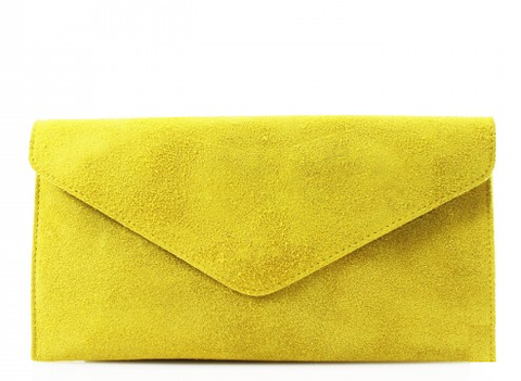 ALB Yellow Real Suede Clutch Bag