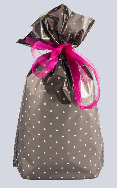 x6 Bottle Bag Polka Dot Black Design