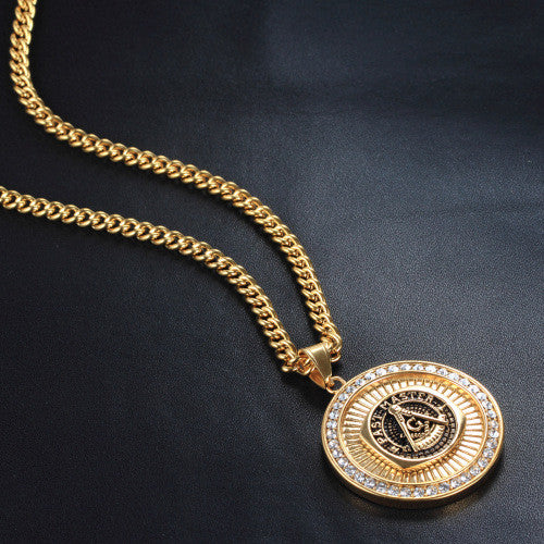 Masonic necklace 18k plating gold pendant 3rd store masonic necklace 18k plating gold pendant aloadofball Gallery