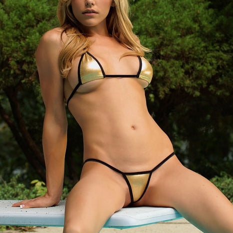Sexy Gold G-String Bikini, swimwear - ADVERSITY GEAR