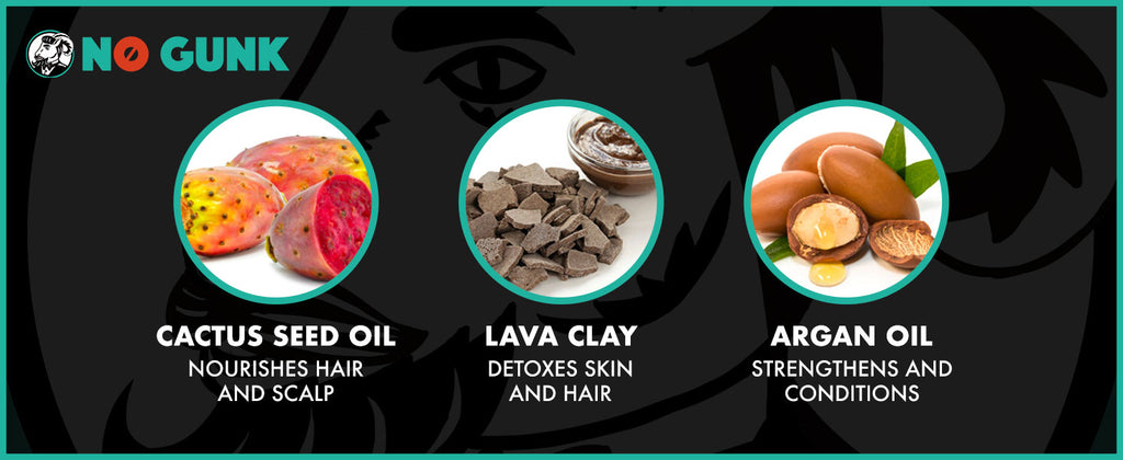NO GUNK MATTE LAVA CLAY INGREDIENTS CACTUS SEED OIL LAVA CLAY ARGAN OIL