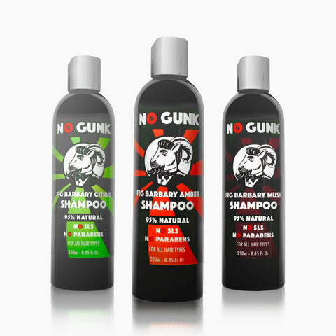 NO-GUNK-Organic-Natural-Shampoo-250ml-Amber-Fig-Barbary-Musk-Citrus-Family-Desert