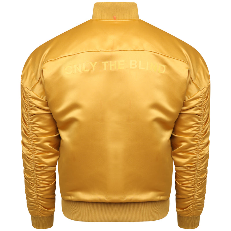 Signature satin gold bomber jacket