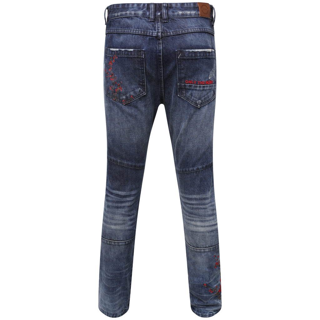 Selvedge Denim blue embroidered blossom