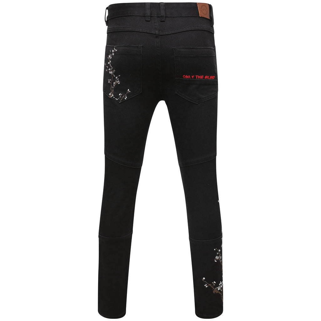Selvedge Denim black embroidered blossom