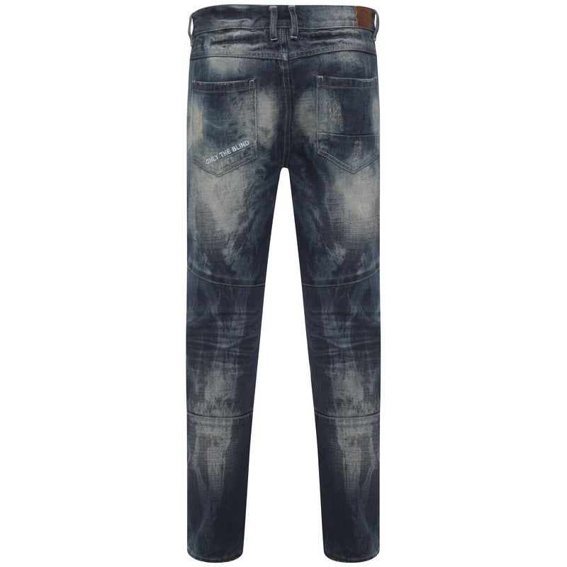 Essential Denim Mid Blue heavy bleached