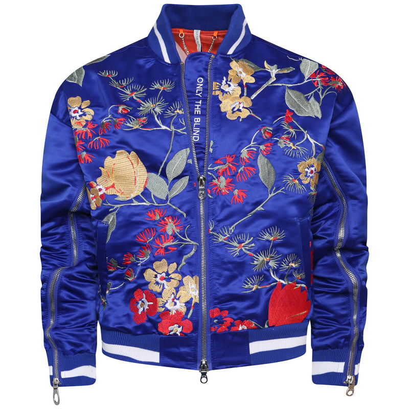 Signature satin mazarine embroidered bomber jacket