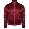 Signature satin wine bomber jacket