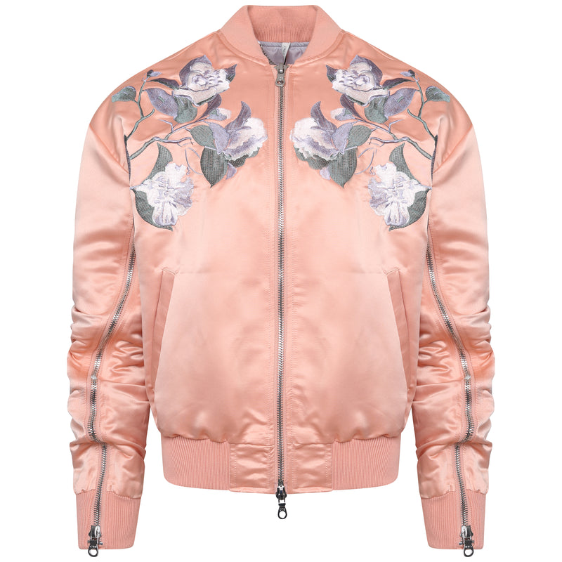 Streetwear jacket for women in satin peach bomber