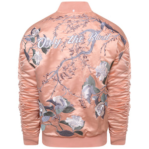 Signature satin peach embroidered bomber jacket