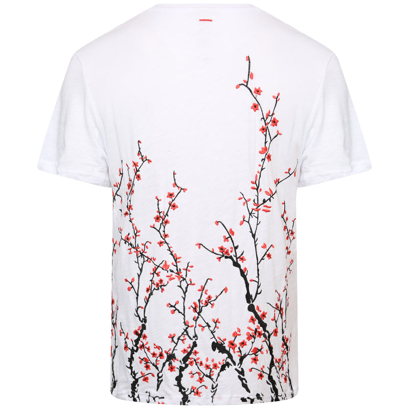 Slub cotton white embroidered blossom t-shirt