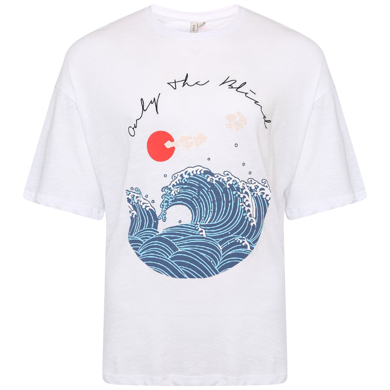 Slub cotton white wave printed T-Shirt