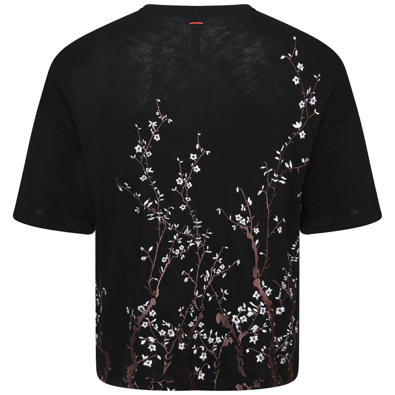 Slub cotton black embroidered blossom t-shirt