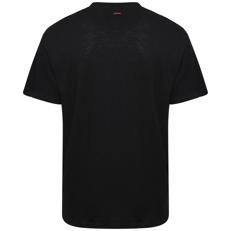 Slub cotton black wave printed T-Shirt