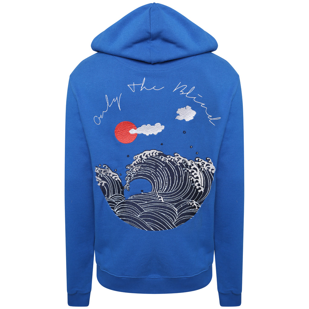 Cotton cobalt blue wave embroidered zip-up sweatshirt