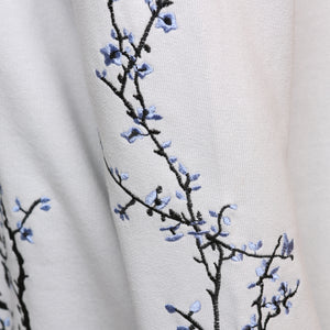 Cotton grey embroidered blossom sweatshirt